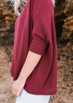 Salt and Soda Design For Every Season Every Body Every Day Ovaro Knit Rhubarb 100% Organic Cotton Material Australian Womens Ethical Fashion Label 3/4 Sleeves Rounded Neck Box Cut Extended Size Range Layerable Light Weight Asymmetrical High Low Cut Stretchy