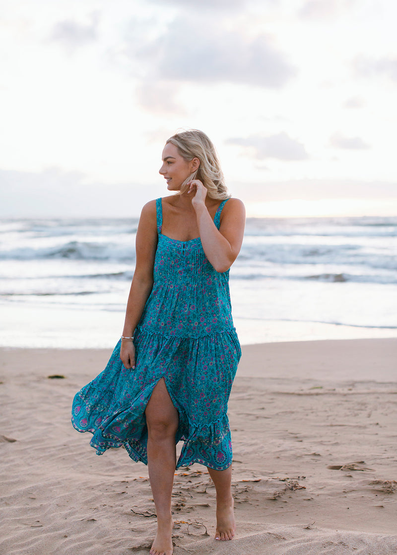 Salt & Soda Design For Everybody For Every Season For Every Day Belize Dress Summer Cotton Rayon Layered Button Up Frill Pleated Front Button Breastfeeding Friendly Wide Straps Beach Fashion Seafoam Printed Floral Design