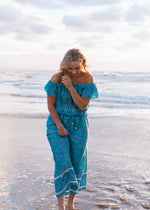 Salt & Soda Design For Everybody For Every Season For Every Day Malibu Pant Pretty Relaxed Luxe Loungewear Loose Fitting Cotton V Neck Boho Seafoam Printed Floral Design