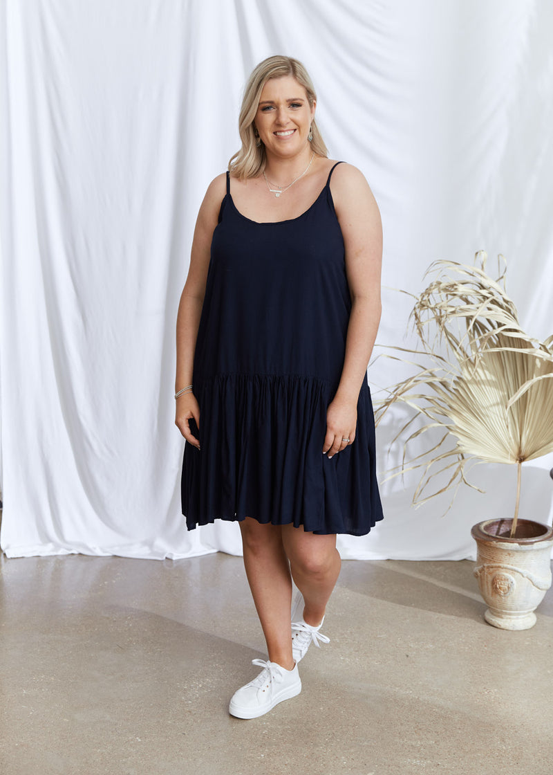 Salt & Soda Design For Everybody For Every Season For Every Day Sicily Dress Midnight Navy Shoestring Adjustable Straps Straight Cut Deep Frill Hem Knee Length Thick Cotton Rayon