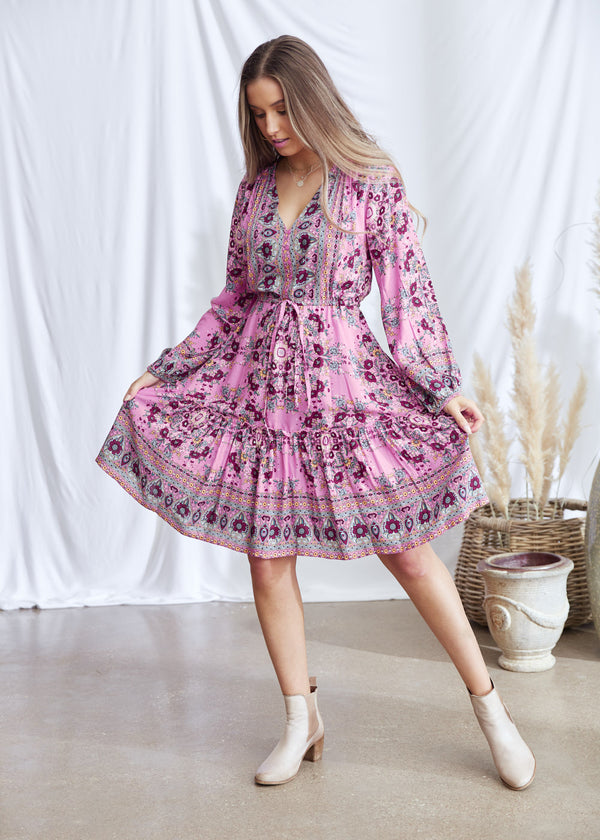Salt & Soda Design For Everybody For Every Season For Every Day Sienna Dress Desert Bloom Elasticated Sleeve Short Dress Functional Breastfeeding Friendly Summer Style Boho Easy To Wear Easy To Love