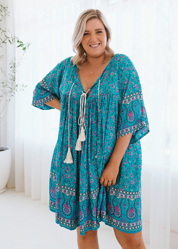 Salt & Soda Design For Everybody For Every Season For Every Day Eumundi Dress Pretty Freesize Loose Fitting Cotton V Neck Raw Tassel Boho Seafoam