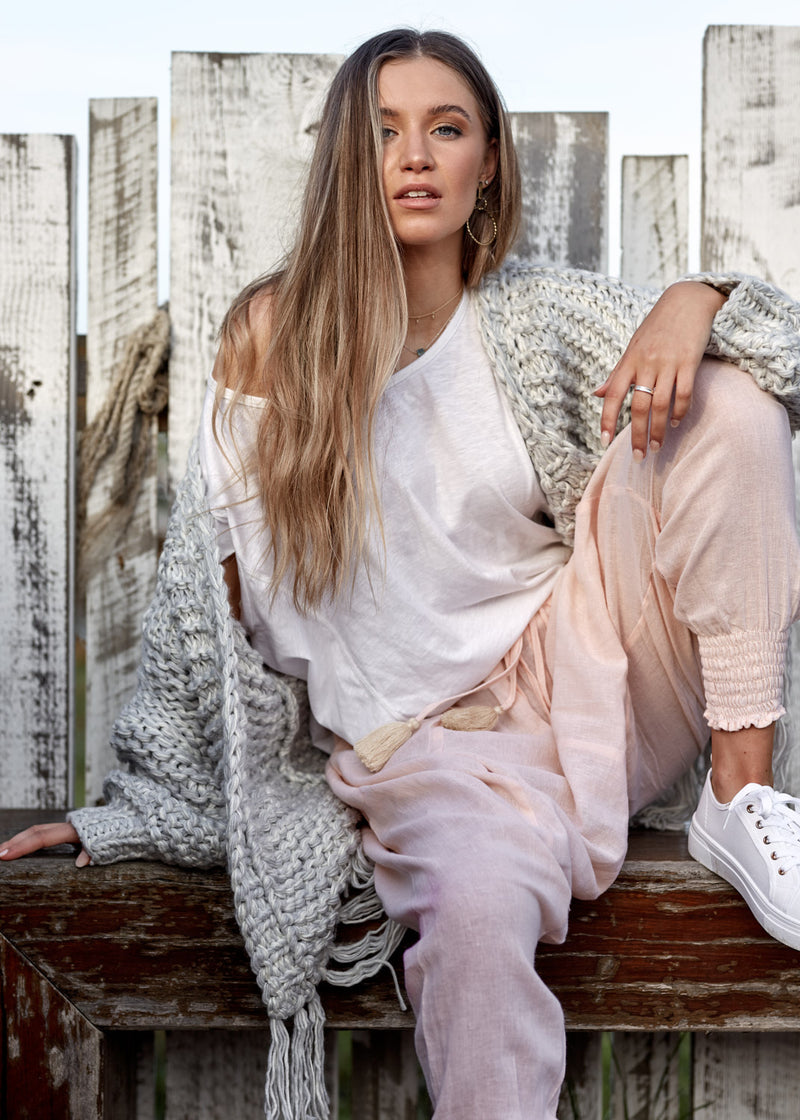 Salt & Soda Design For Everybody For Every Season For Every Day Moroccan Pant Peachy Keen 100% Soft Linen Draped Pleated Front Drawcord Waist With Raw Rope Tassels Severe Drop Crutch Fitted Elasticised Cuff To Leg