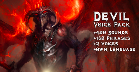 Devil - Voice pack reached n.1 on Unity asset store.