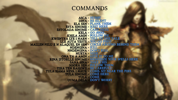 Elven language commands