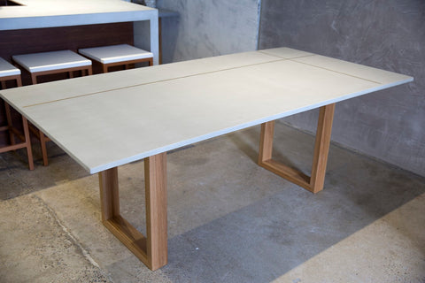 Dining Table with Brass inlay