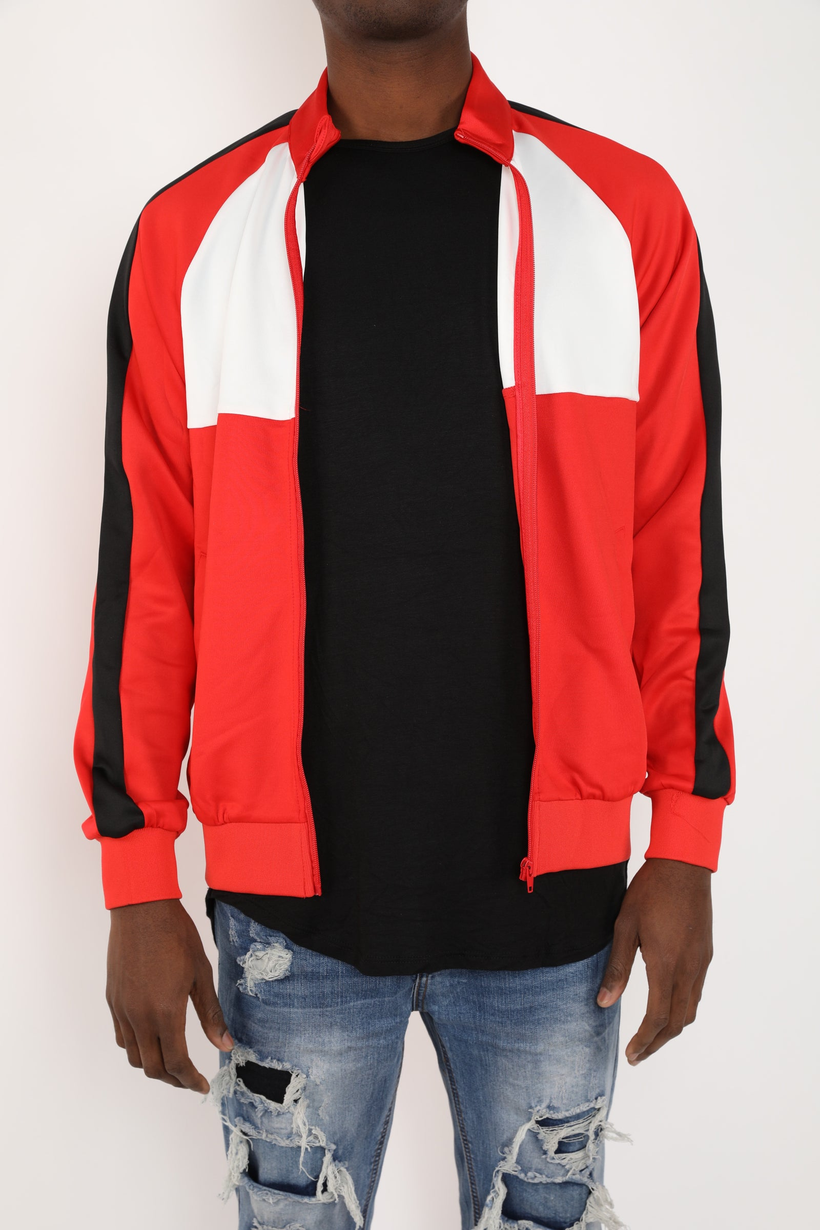 The Block Track Jacket in Red