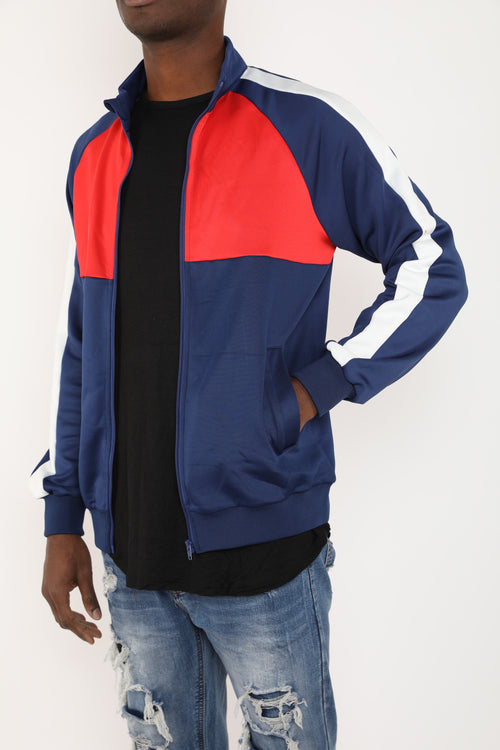 The Block Track Jacket in Navy