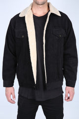 The Cole Wool Lined Corduroy Jacket in Black