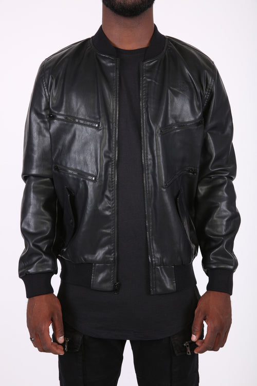 The Elliot Leather Bomber in Black