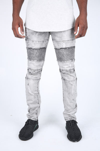 The Baker Destroyed Moto Denim in Ice Grey