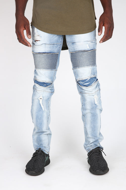 The Baker Destroyed Moto Denim in Ice
