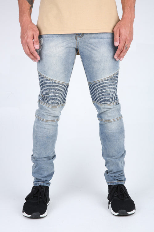 The Harrison Destroyed Biker Denim in Light Blue