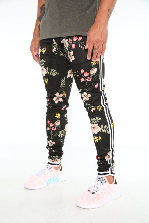 The Migos Track Pants in Black Blossoms