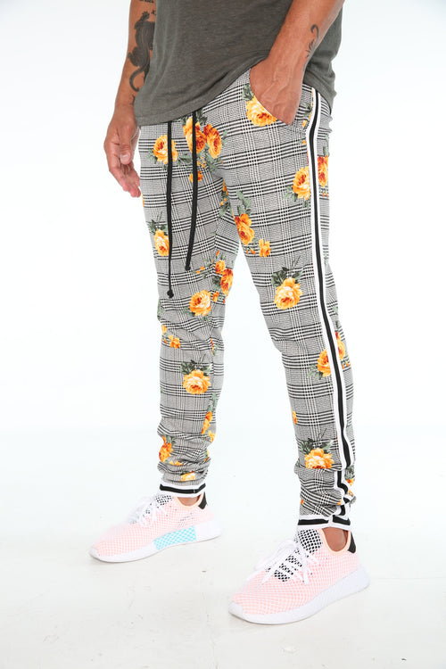 The Migos Track Pants in Yellow Floral Plaid