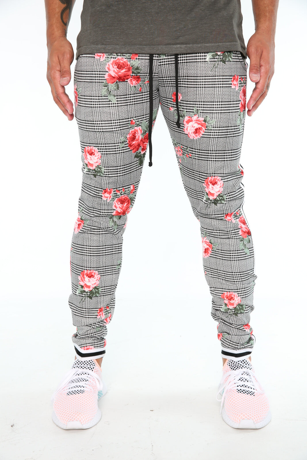 The Migos Track Pants in Red Floral Plaid