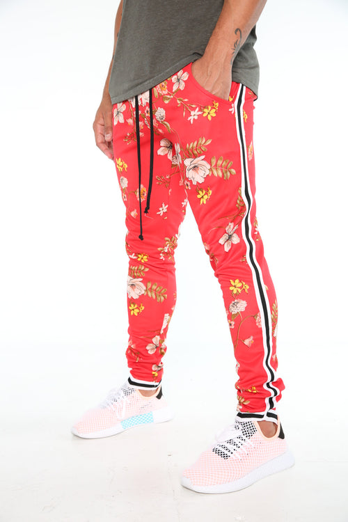 The Migos Track Pants in Red Blossoms