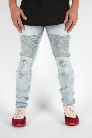 The Giles Moto Denim in Light Blue