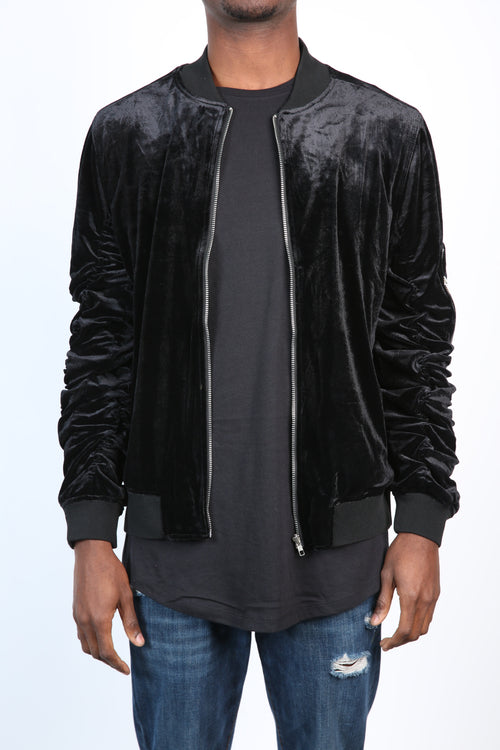 The Plush Velvet Bomber in Black