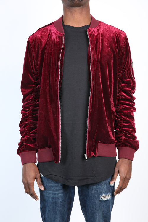 The Plush Velvet Bomber in Maroon