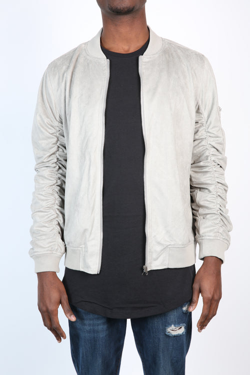 The Soren Suede Bomber in Grey