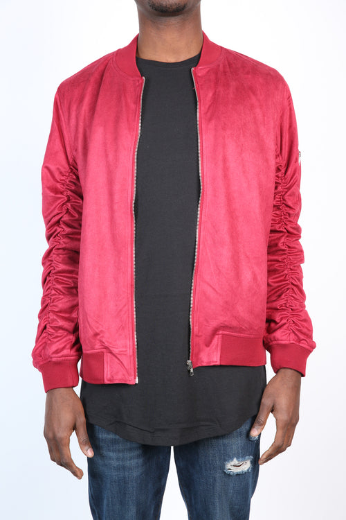 The Soren Suede Bomber in Red