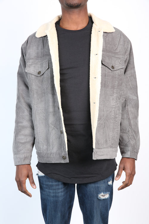 The Cole Wool Lined Corduroy Jacket in Silver