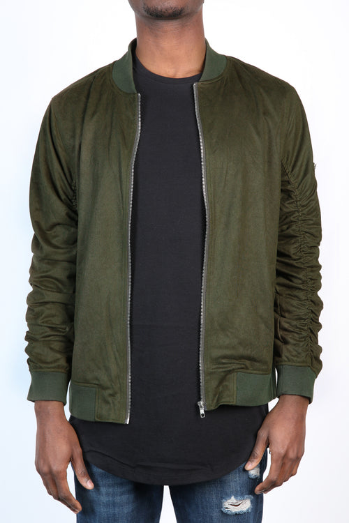 The Soren Suede Bomber in Olive
