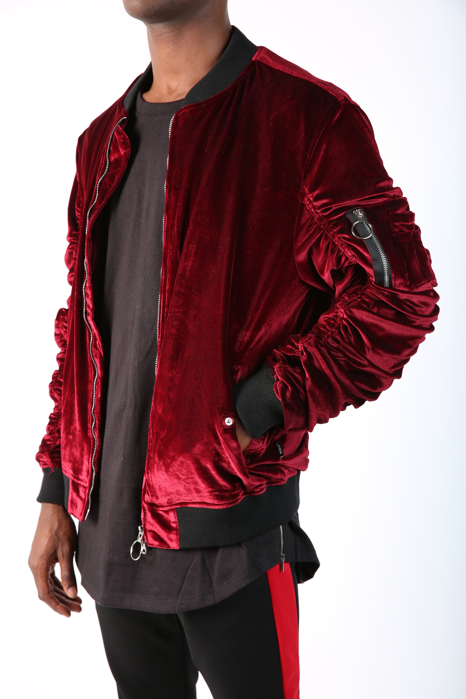 The King Velvet Bomber in Maroon