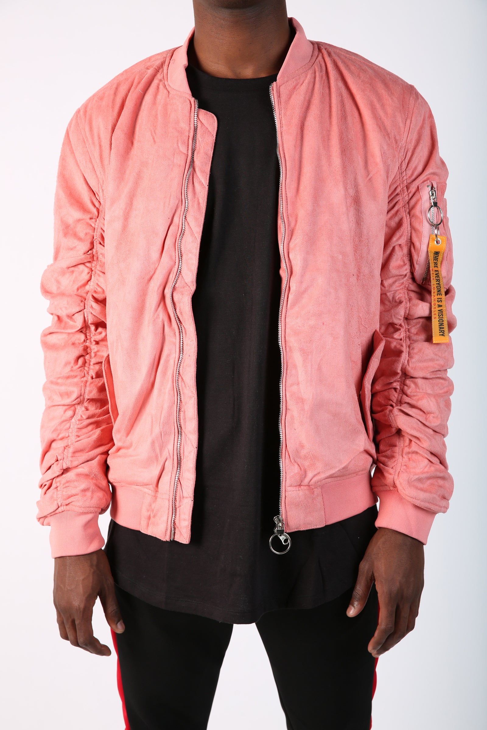 The Collison Suede Bomber in Rose