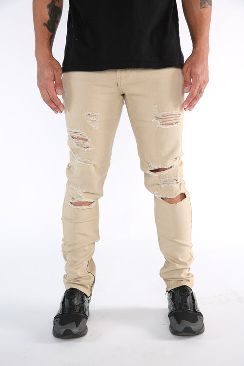 The Markers Destroyed Denim in Tan