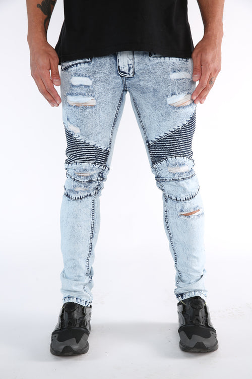 The Lowe Destroyed Moto Denim in Acid Blue