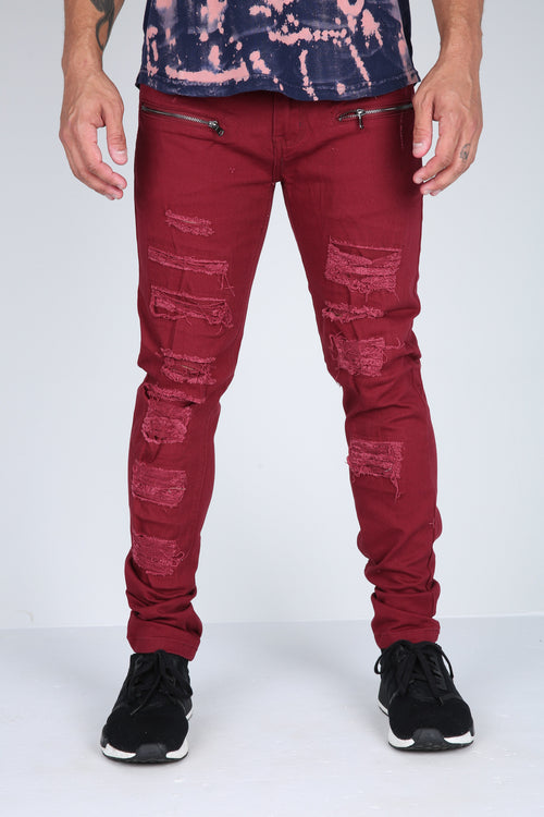 The Conners Moto Pants in Maroon