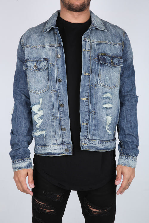 The Bruno Destroyed Denim Jacket in Light Blue