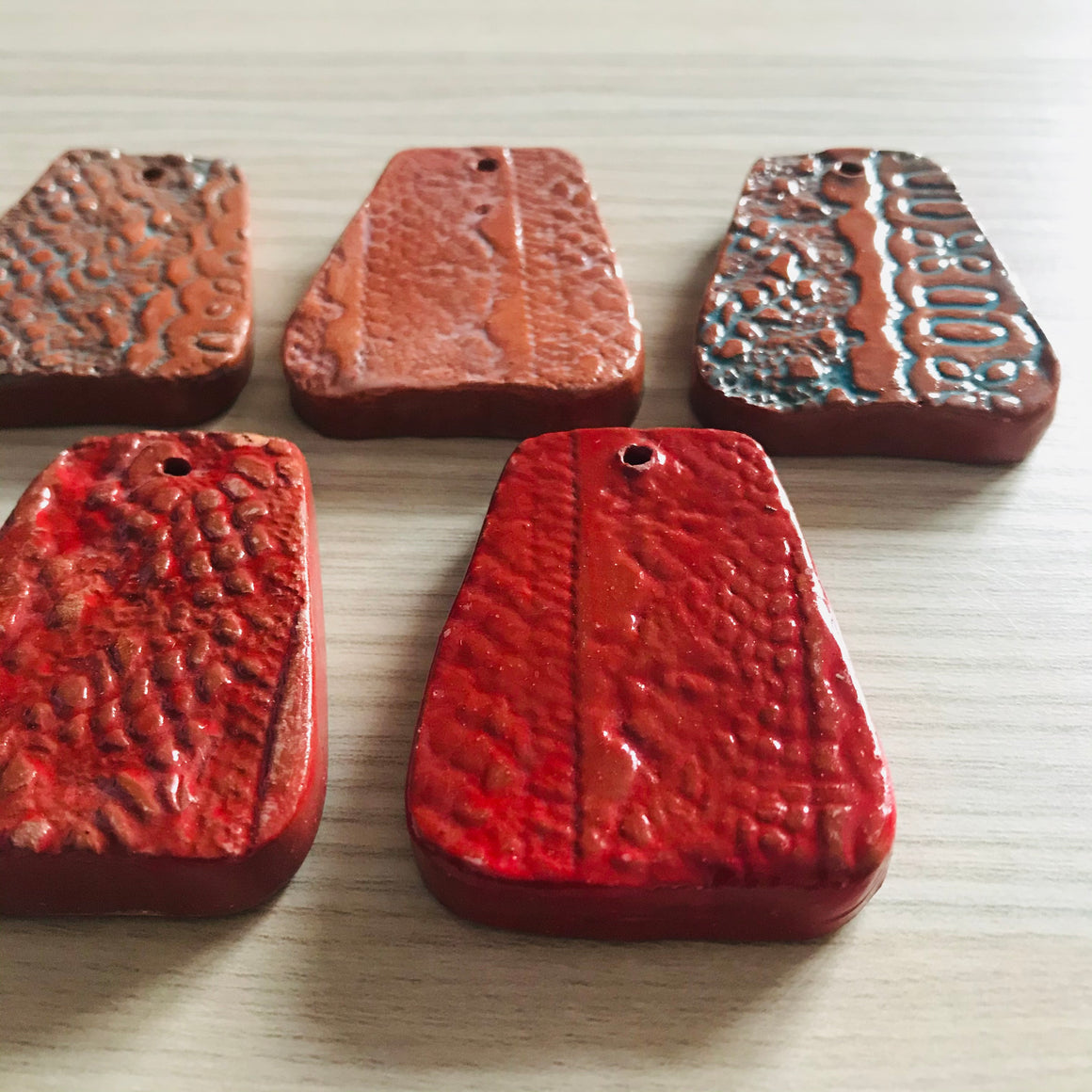 Haiti: Clay Pendant- Set of 5 (Red/Blue)