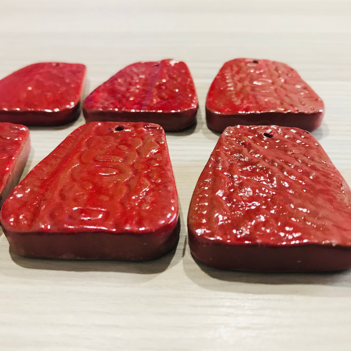 Haiti: Clay Pendant- Set of 6 (Red)