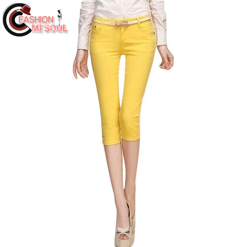 Sexy Candy Color Slimming Cotton Capris Pants