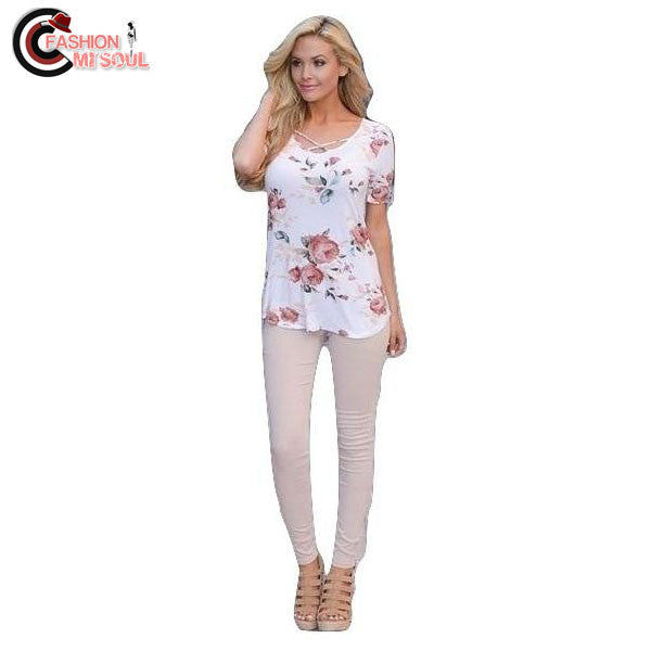 V-Neck Print Short Sleeve Casual Slim Pink White Party Lacing Tops Tees
