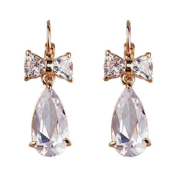 Chic Gold Plated Clear Bowknot Cubic Zirconia Tear Drop Earrings