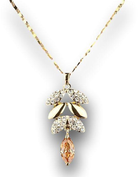 Beautiful Color Austrian Crystals Leaves Design Pendant Necklace
