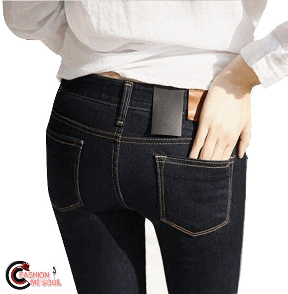 Chic Gold Fleeces Solid Skinny Pencil Pants Low Waist Female Jeans