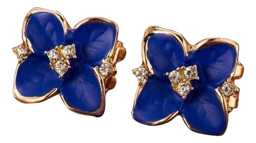 Elegant noble blue flower gold plated rhinestone earrings