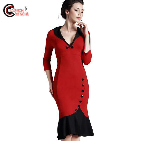 Chic Mermaid Button 3/4 Sleeve Vintage formal work bodycon office V neck Dress
