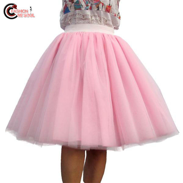Elegant Tulle Chiffon Puff 6 Layer of White Organza Ball Gown High waist Knee lenght Skirts