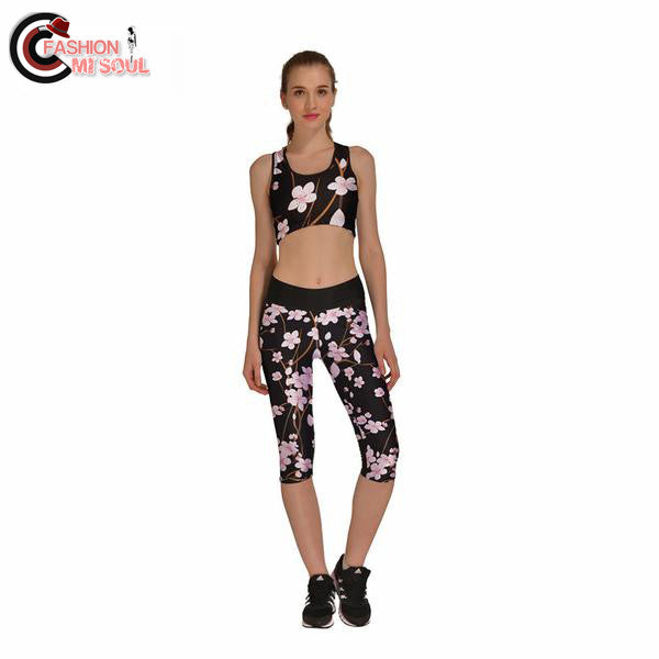 Sexy Plum Bloom Pretty Digtal Print 2 Pieces Pants