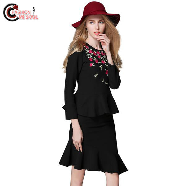 Stylish Embroidery Suits Blouse Tops+Ruffles Hem Skirts 2 Piece Casual