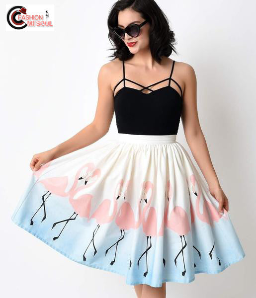 Chic Flamingo Printed Pleated Ball Gown Knee Length Skirts