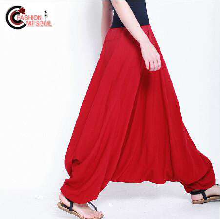 fashion Cotton bloomers large crotch loose wide leg trousers