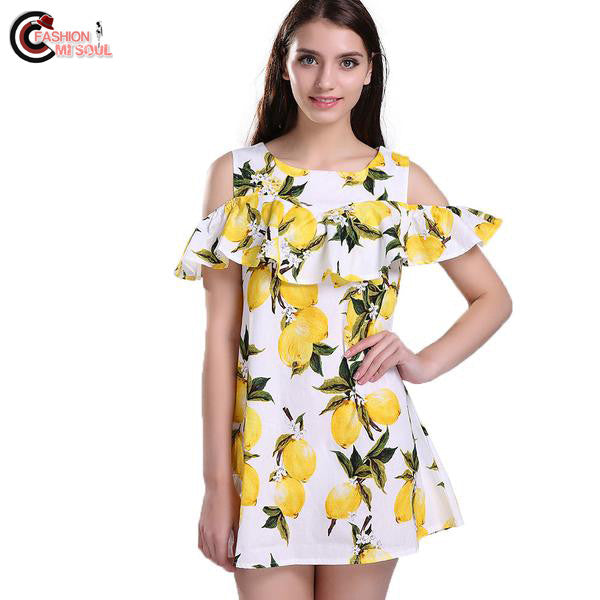Fashion Off shoulder Lemon Print Dress Above Knee Tops