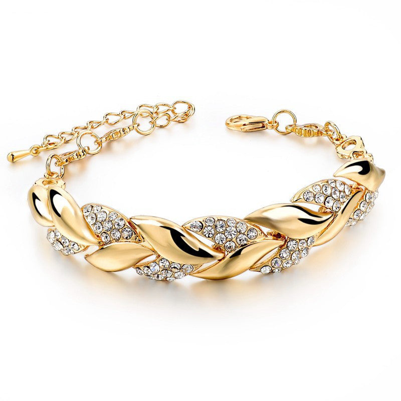 Braided Gold Leaf Bracelets & Bangles With Stones Luxury Crystal Bracelets For Women Wedding Jewelry